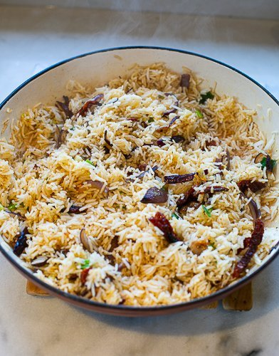 cooked special rice in a pan