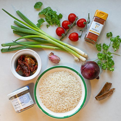 all the ingredients needed to make special rice