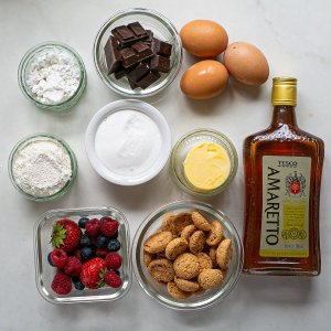 all the ingredients needed to make chocolate and amaretti cake