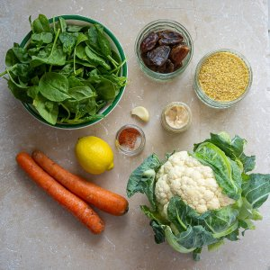 all the ingredients needed to make tahini roasted cauliflower salad