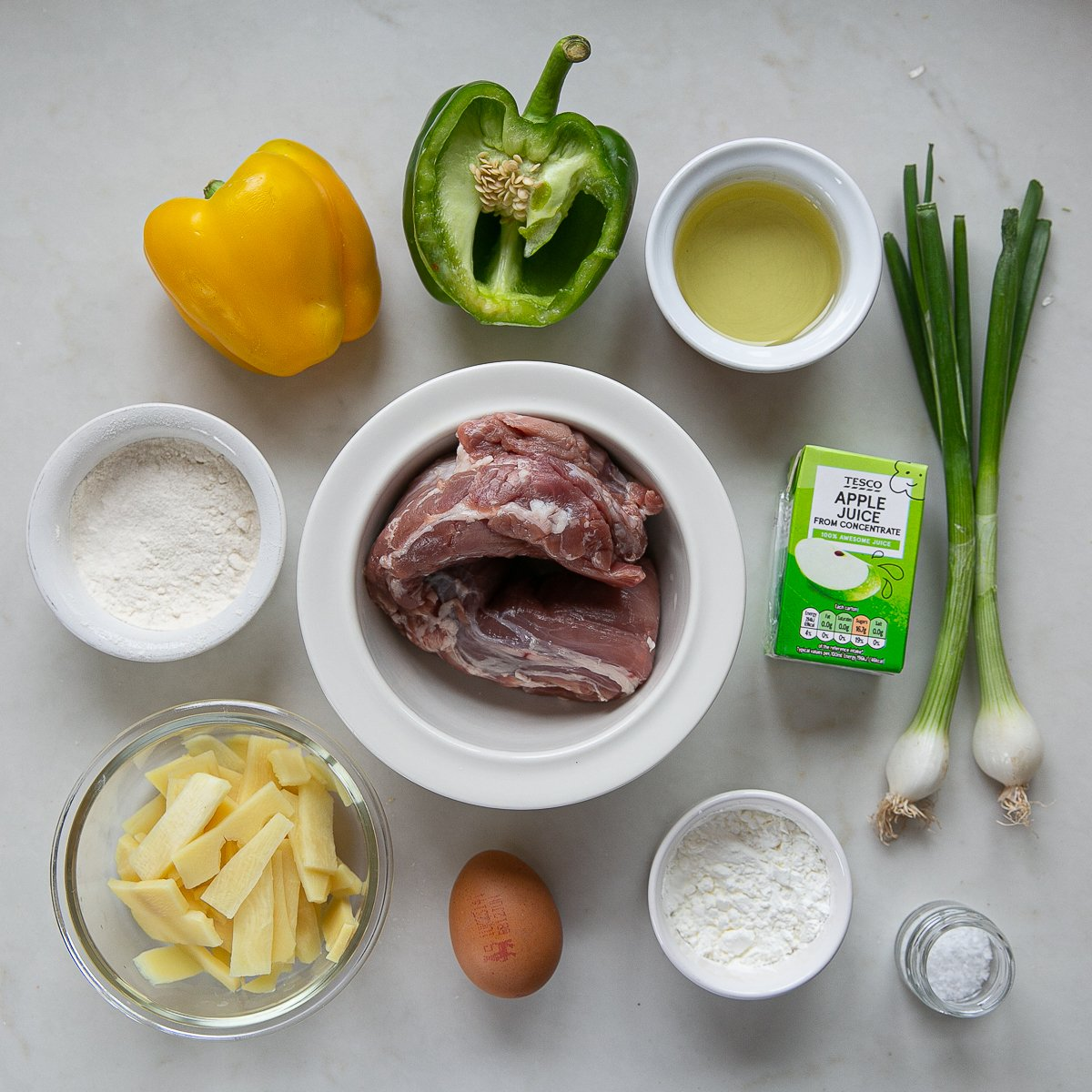 all the ingredients needed to make Sticky Pork Stir Fry