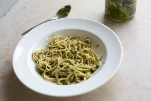 freshly cooked pasta with a pesto sauce
