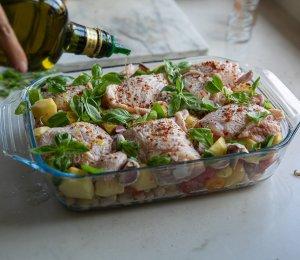 Jamie Oliver chicken casserole in a dish