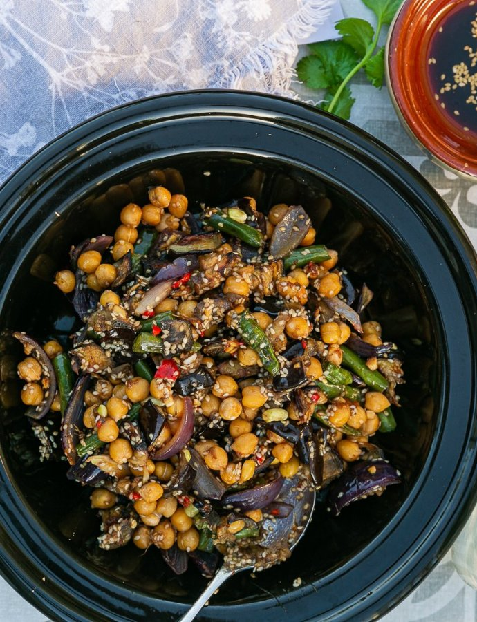Aubergine and Chickpea Teriyaki Salad