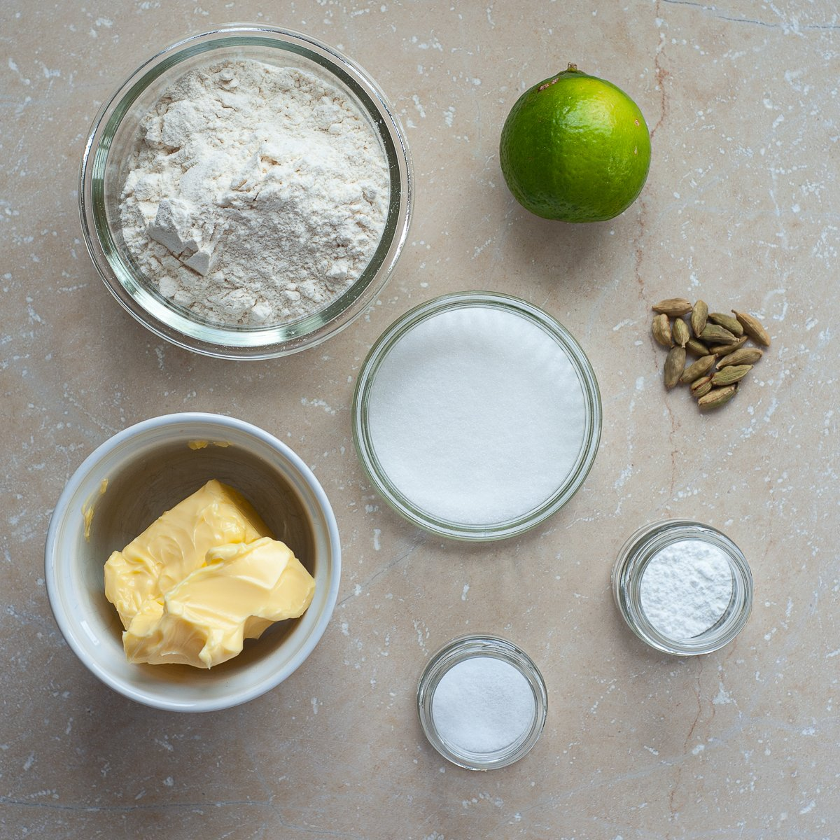 all the ingredients needed to make Lime and Cardamom Biscuits