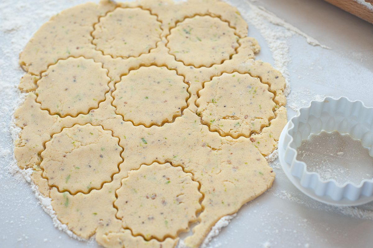 Lime and Cardamom Biscuit dough being shaped