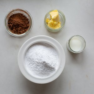 all the ingredients needed to make chocolate icing