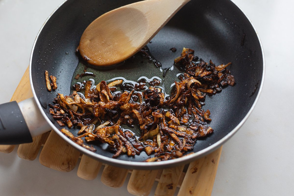Fried shallots in a pan