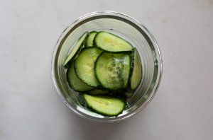 pickled cucumber slices in a bowl