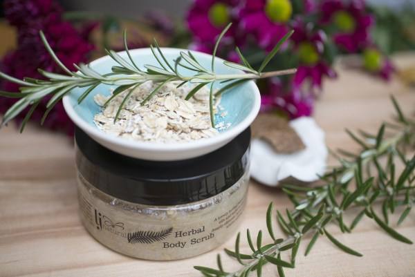 herbal body scrub handmade organic aromatherapy skincare made in Cheshire UK