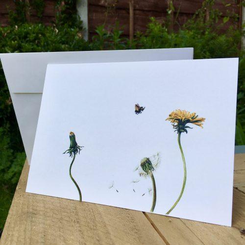 dandelion and bee luxury greeting card