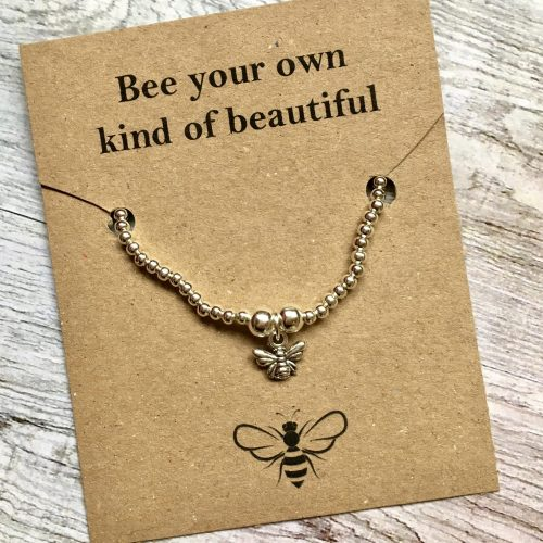 silver bee bracelet handmade