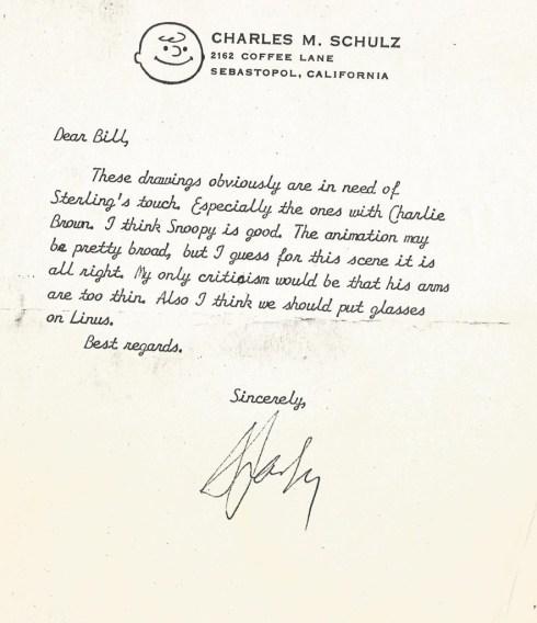 Charles Schulz letter to Bill Melendez