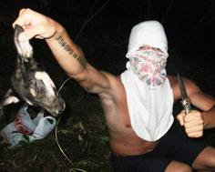 На фотографии садист с отрезанной у бездомной собаки головой.