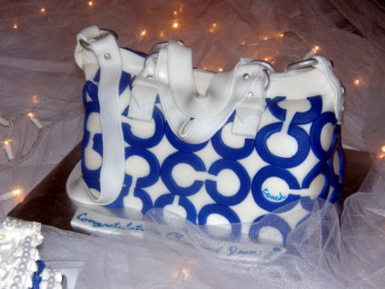 Blue and White Coach Cake