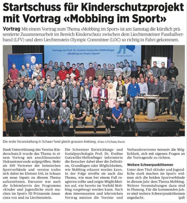Kinderschutzprojekt Januar Volksblatt 2020