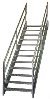 Galvanized Stairs Metal Stairs Osha Prefab Stairways   Pre Built Stairs Outdoor   House   Stand Alone   Outside   Building   Cement