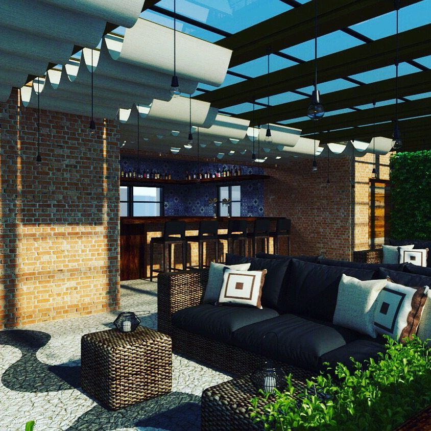 An artist's rendering of the planned rooftop lounge.