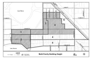 """""""Multi-family development in Sub-Districts 1, 2, & 3, and in Sub-District 4, along E. Orange Street and to the north, as illustrated in Attachment """"C-1,"""" shall have a maximum building height of four (4) stories, not to exceed a total height of sixty (60) feet. """""""