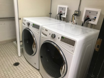 The washing machine and dryer, installed
