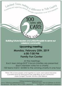 100 Teens Who Care Quarterly Meeting @ Family Fun Center
