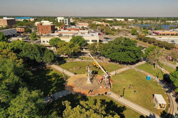 Drone coverage of the statue move