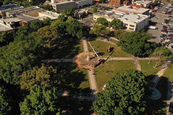 Drone coverage of the statue move