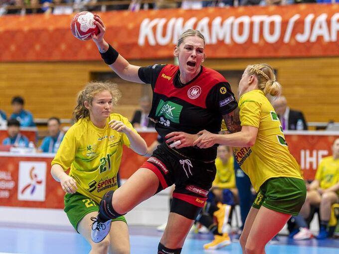handball frauen mit perfektem wm