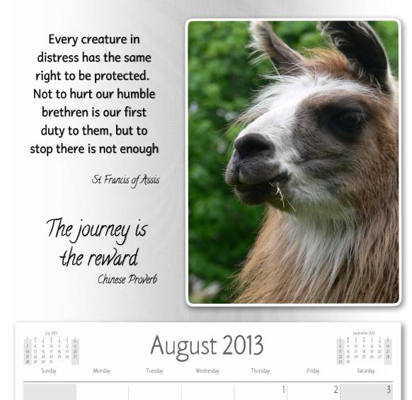 Free Llama Picture Calendar