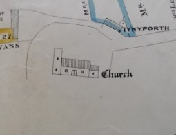 Llanrhystud Church 1884 map