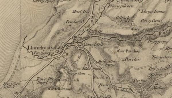 Llanrhystud 1834 one-inch map of England & Wales