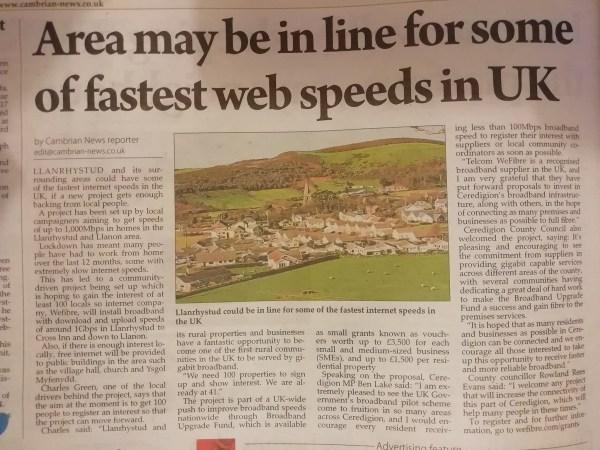 Llanrhystud to get fastest web speeds in UK