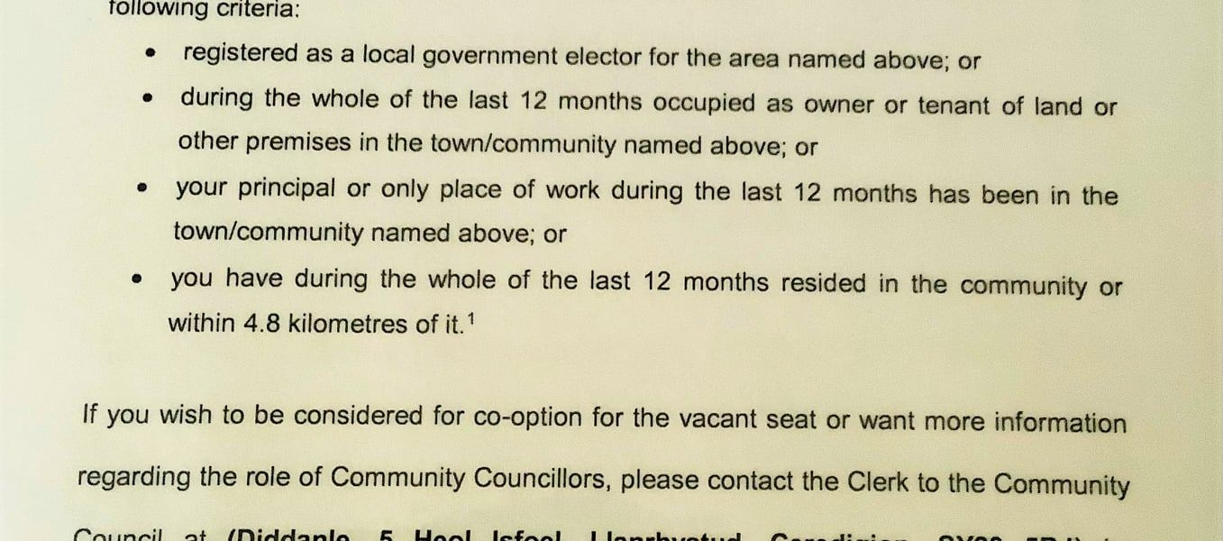 LLANRHYSTUD COMMUNITY COUNCIL (HAMINIOG WARD), Local Government (Wales) Measure 2011 , Section 116, Notice of Co-Option