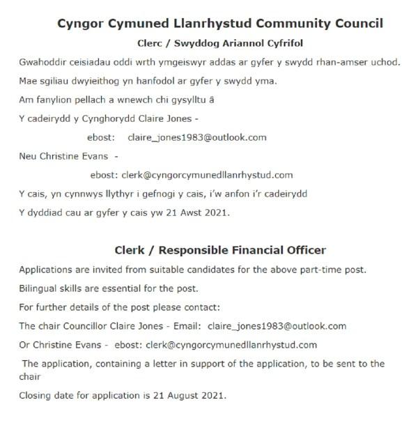 Clerk - Responsible Financial Officer, advert by Llanrhystud Community Council, 2021