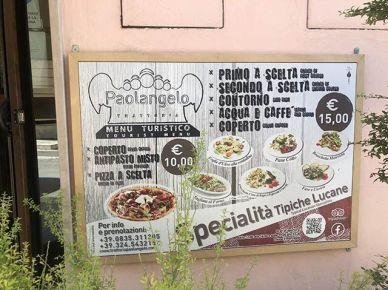 Menú local de Matera