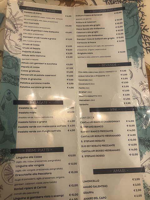 Donde comer en Gallipoli: menú La Navicula
