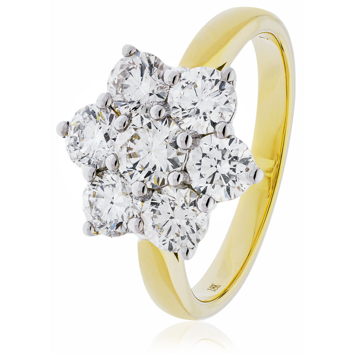 Diamond Seven Stone Cluster Ring 300ct 18k Gold