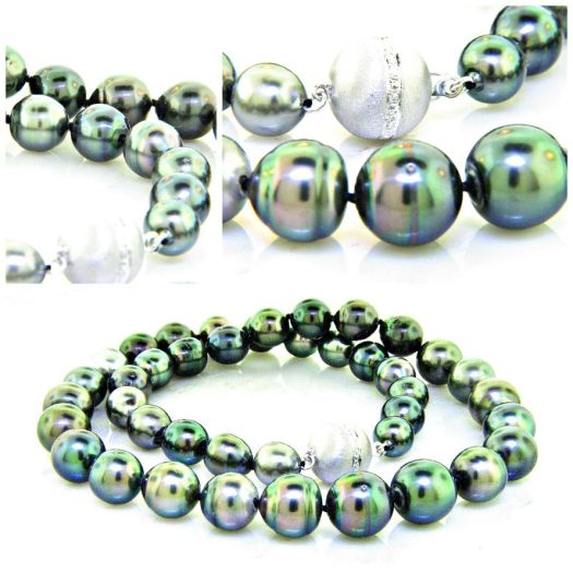Natural Black Tahitian Pearl Necklace - LL Pavorsky