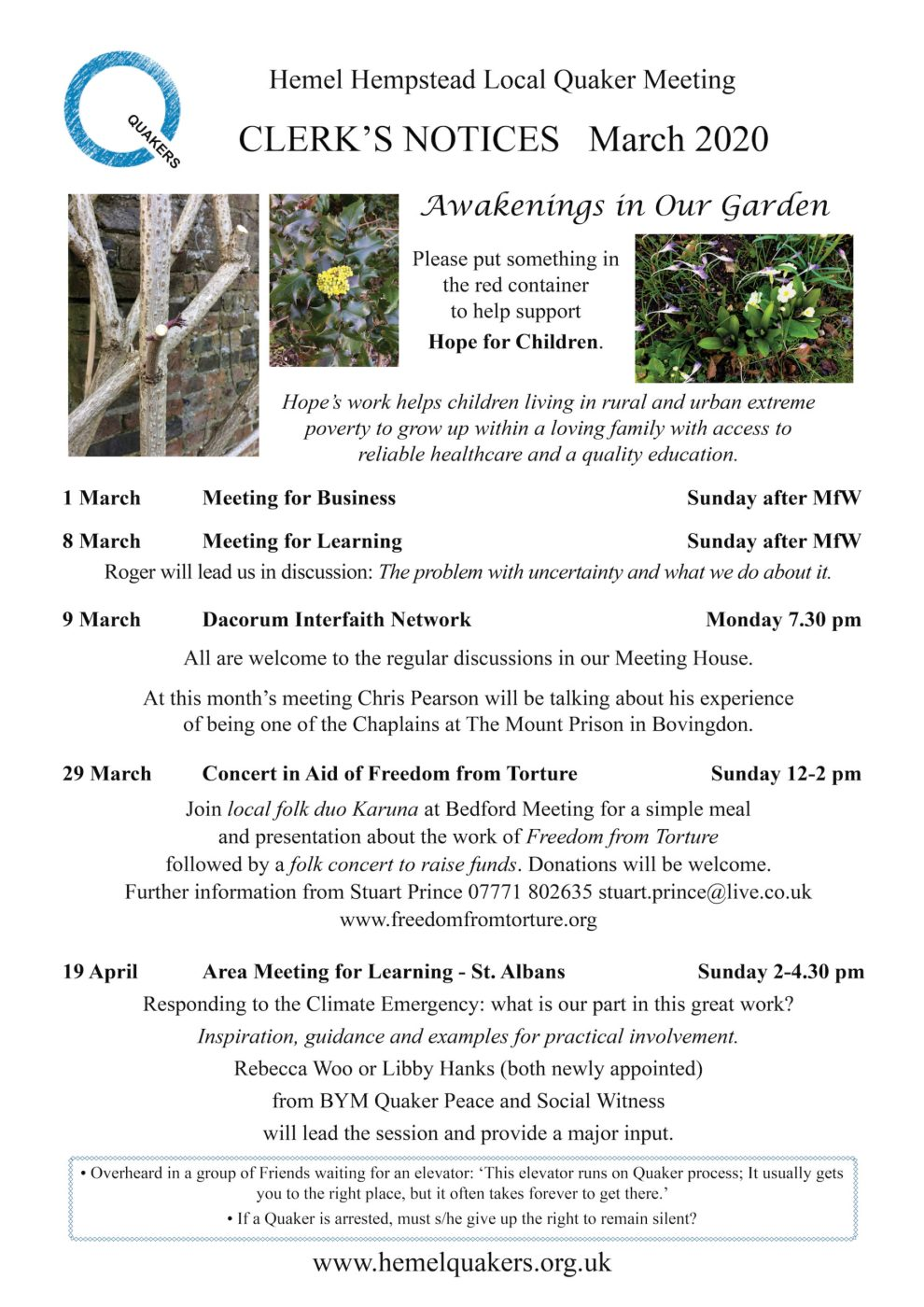 March Notices for Hemel quakers