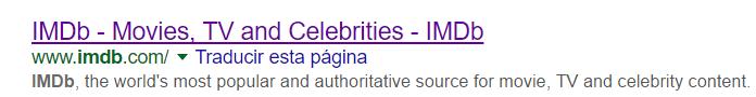 Página de resultados de Google para la palabra clave IMDB