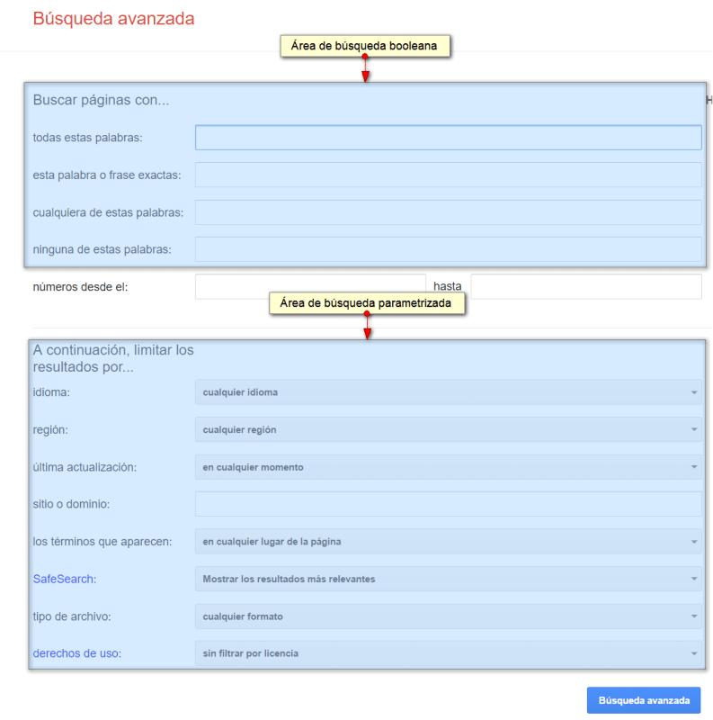 Formulario de búsqueda avanzada de Google