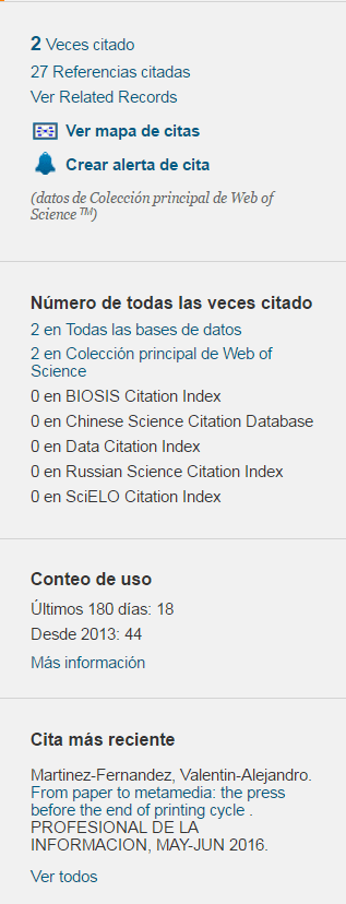Parte de un registro en Web of Science