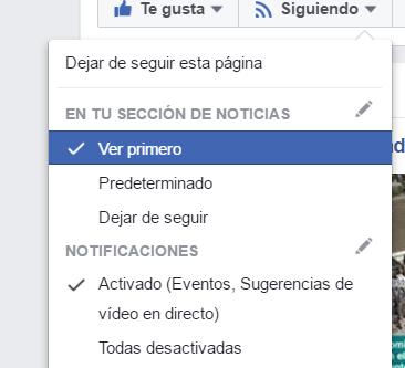 Ver primero en Facebook