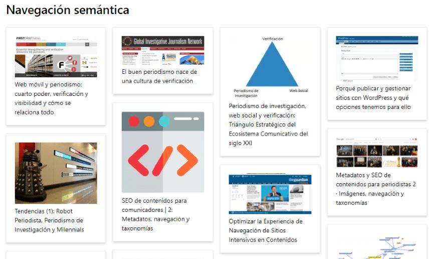 Ejemplo de SEO de contenidos: mosaico de temas relacionados