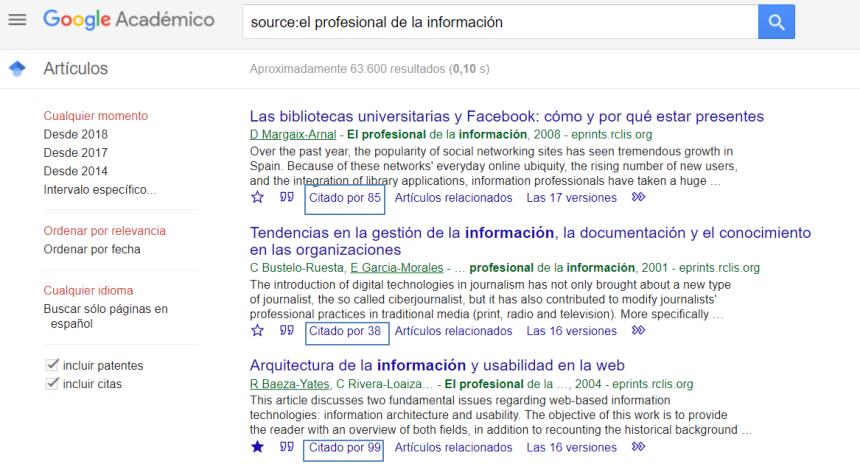 Google es el buscador más importante en el campo del SEO académico. Una captura de su página de resultados