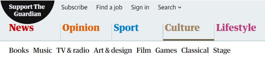 Menú de navegación principal de The Guardian. Ejemplo de taxonomía de un medio de comunicación.