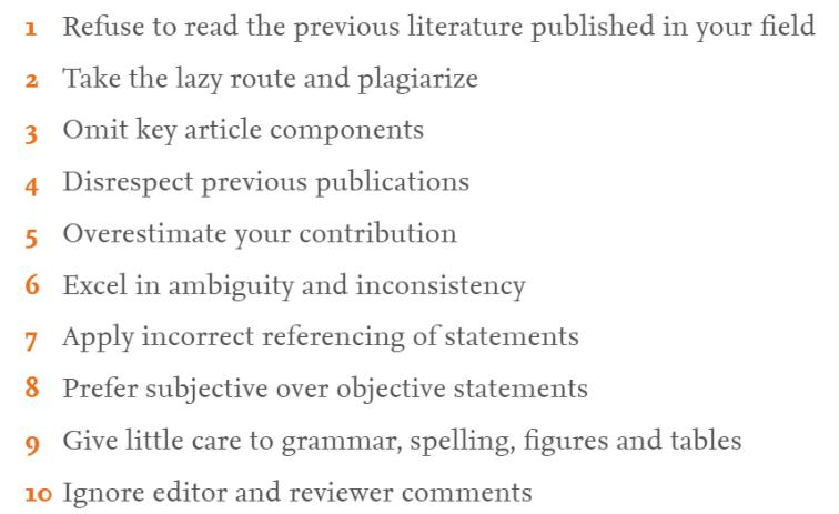 Los 10 principales errores en la publicación académica