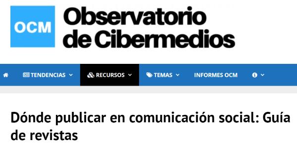 Cabecera del sitio web del  Observatorio de Cibermedios (OCM)