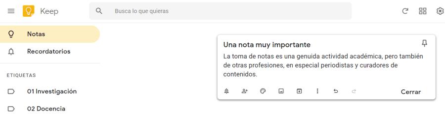 Una nota en Google Keep