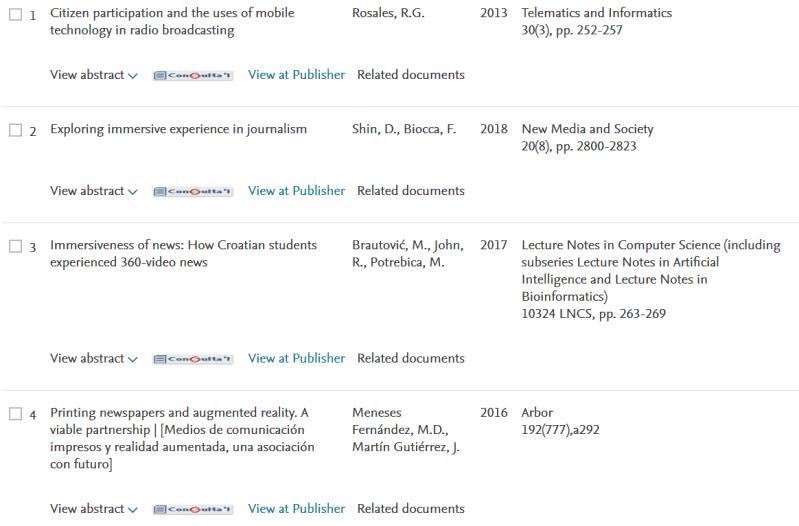 Referencias en una página de resultados de una base de datos académica